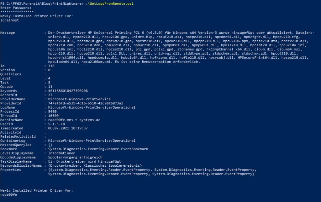 Powershell Script output